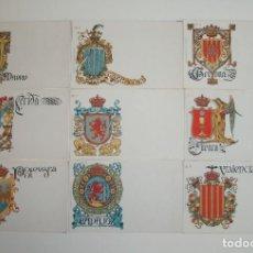 Postales: 50 POSTALES. ESCUDOS ESPAÑOLES. COLECCIÓN COMPLETA. HERMENEGILDO MIRALLES. BARCELONA. AÑO 1900.. Lote 283199848