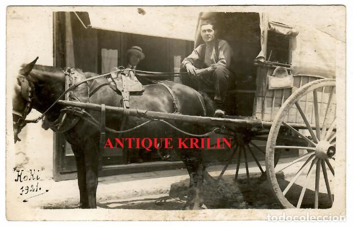 POSTAL FOTOGRAFICA 1921 / CABALLO CON CARRO / TARTANA (Postales - Postales Temáticas - Estilo)