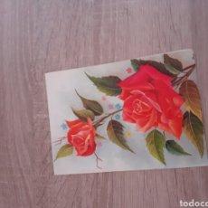 Postales: POSTAL TIPO LIBRO CON FLORES EN RELIEVE.ES DE LOS AÑOS 60.. Lote 288337938