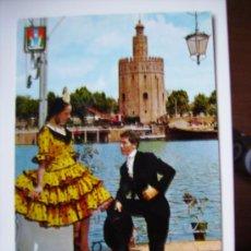 Postales: PAREJA TIPICA SEVILLANA Y TORRE DEL ORO. Lote 11117867