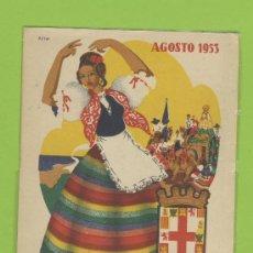 Postales: POSTAL PUBLICITARIA -FIESTAS EN HONOR DE LA VIRGEN DEL MAR AÑOS 53 IMPRESION ORTEGA -VALENCIA P 265. Lote 12825873