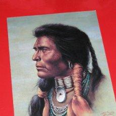 Postales: MAGNIFICA POSTAL CON DIBUJO RACIAL DE GUERRERO INDIO AMERICANO. Lote 13753869