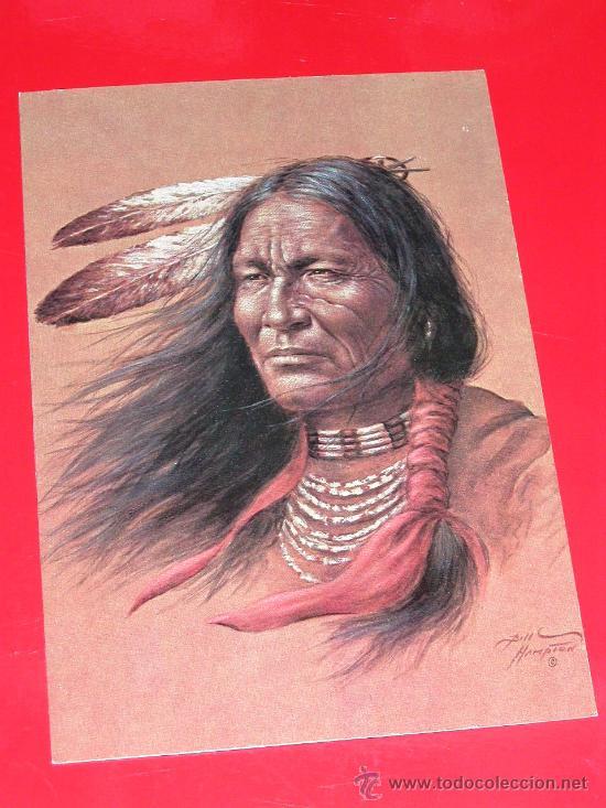 MAGNIFICA POSTAL CON DIBUJO RACIAL DE GUERRERO INDIO AMERICANO (Postales - Postales Temáticas - Étnicas)