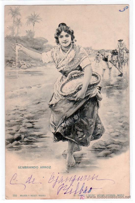TARJETA POSTAL DE LA COLECCION BLANCO Y NEGRO. SEMBRANDO ARROZ. 550 HAUSER Y MENET. VER FOTO REVERSO (Postales - Postales Temáticas - Étnicas)