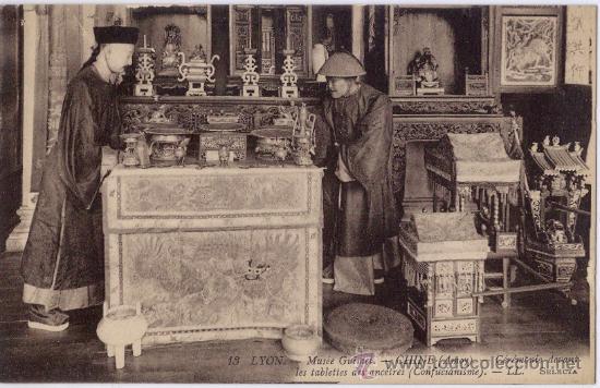 CHINE. CEREMONIE DEVANT LES TABLETTES DES ANCESTRES. (Postales - Postales Temáticas - Étnicas)