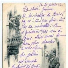 Postales: PELANDO LA PAVA. HAUSER Y MENET 541. DE BLANCO Y NEGRO. REVERSO SIN DIVIDIR. CIRCULADA. Lote 22835532