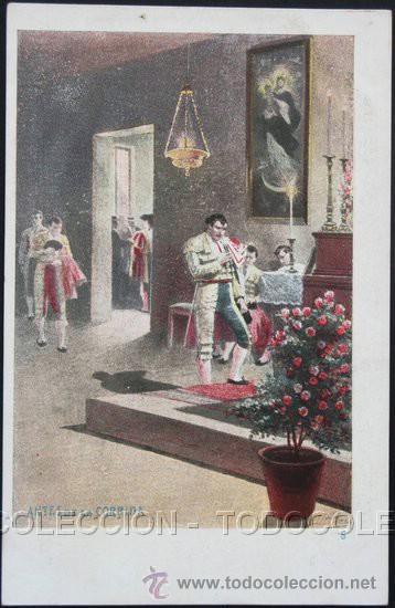 POSTAL ANTES DE LA CORRIDA . TOROS TOREO TOREROS . CALLEJA CA AÑO 1900. (Postales - Postales Temáticas - Étnicas)
