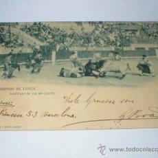 Postales: CORRIDA DE TOROS MAZZANTINI EN UN QUITE HAUSER Y MENET 1901. Lote 25854655
