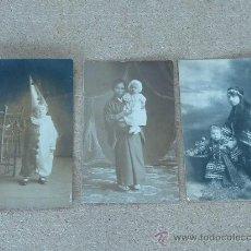 Postales: LOTE DE 3 FOTOPOSTALES ETINCAS? CARNAVAL? DISFREZAS? DE 1919. . Lote 27898218