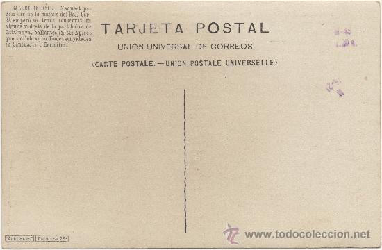 Postales: BALLET DE DÉU, DANSA POPULAR CATALANA. - Foto 2 - 34044582