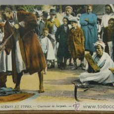Postales: POSTAL COLOREADA ESCRITA MARRUECOS 1921 ED LEVY FILS PARIS 6640 SCÈNES ET TYPES CHARMEUR DE SERPENTS. Lote 35376685
