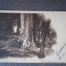 Postales: POSTAL AÑO 1901 LEÑADORA RENDIDA COLECCIÓN CANOVAS. Lote 35584355