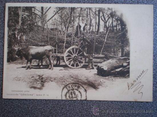 POSTAL AÑO 1901 CARGANDO LEÑA COLECCIÓN CANOVAS (Postales - Postales Temáticas - Étnicas)