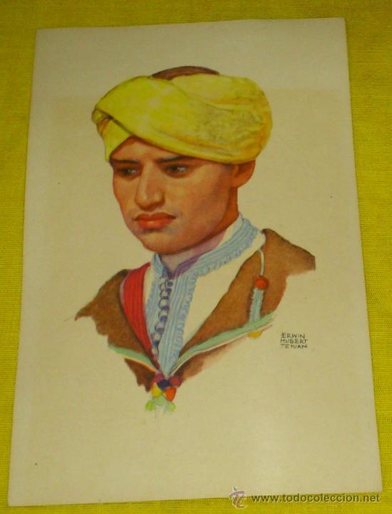 Postales: 6 POSTALES LITOGRAFICAS DE etnografia MARROQUI, MARRUECOS POR ERWIN HUBERT DIBUJANTE - Foto 7 - 36338277