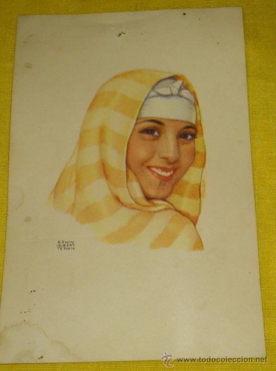 Postales: 6 POSTALES LITOGRAFICAS DE etnografia MARROQUI, MARRUECOS POR ERWIN HUBERT DIBUJANTE - Foto 11 - 36338277