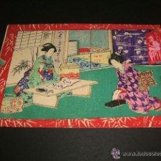 Postales: POSTAL 1903 ESCENA JAPONESA JAPON EN TELA MUY RARA PAPEL PARA ESCRIBIR. Lote 42598583