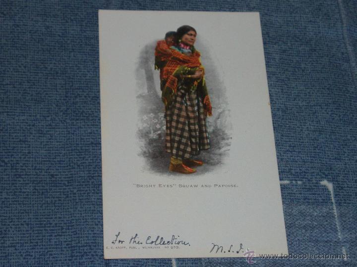 Postales: 3 POSTALES DE MUJERES INDIAS. 1901-1920. = INDIOS, VAQUEROS = - Foto 3 - 43156904