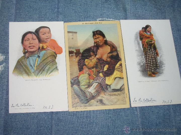 Postales: 3 POSTALES DE MUJERES INDIAS. 1901-1920. = INDIOS, VAQUEROS = - Foto 5 - 43156904