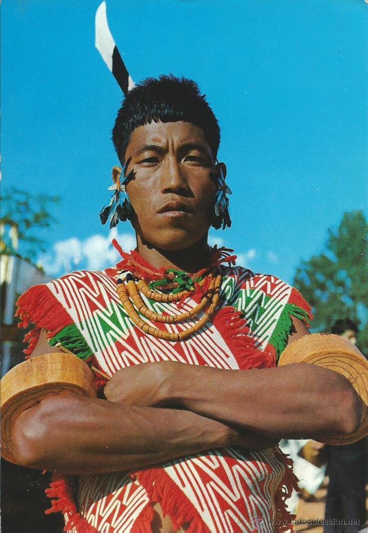 2 FOTOS POSTALES DE LA INDIA - GUERREROS ANGAMI WARRIOR KOHIMA NAGALAN SIN CIRCULAR (Postales - Postales Temáticas - Étnicas)