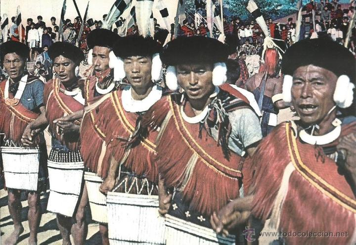Postales: 2 FOTOS POSTALES DE LA INDIA - GUERREROS ANGAMI WARRIOR KOHIMA NAGALAN SIN CIRCULAR - Foto 2 - 44466929