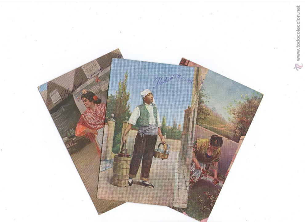 LOTE DE 3 POSTALES TIPICAS AGUADOR, TIPOS...1908 FRANQUEADAS (Postales - Postales Temáticas - Étnicas)