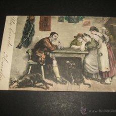Postales: ESCENA DE CAZADOR EN TABERNA POSTAL ILUSTRADA ANTERIOR A 1905. Lote 50319764