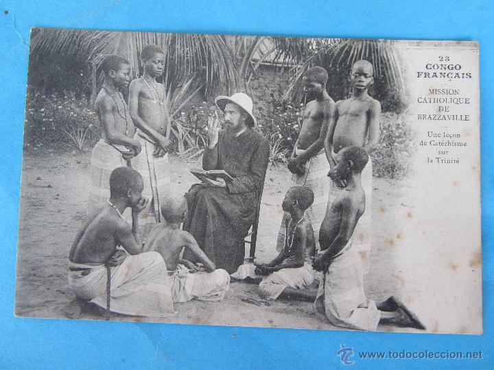 POSTAL MISSION CATHOLIQUE , CONGO FRANCAIS - MISION CATOLICA, CONGO FRANCES , AÑOS 20-30 (Postales - Postales Temáticas - Étnicas)