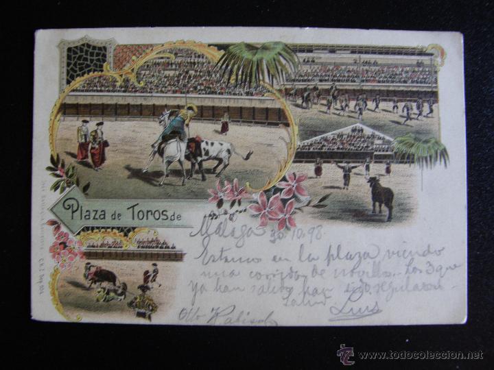 CORRIDA DE TOROS. DIVERSAS SUERTES. CIRCULADA EN 1898. (Postales - Postales Temáticas - Étnicas)