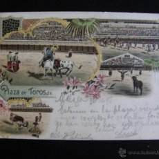 Postales: CORRIDA DE TOROS. DIVERSAS SUERTES. CIRCULADA EN 1898.. Lote 54417563