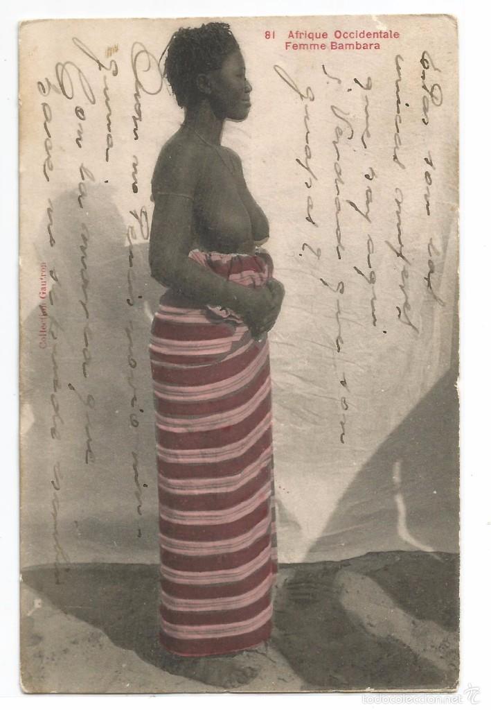 AFRIQUE OCCIDENTALE .- FEMME BAMBARA Nº 81 .- CIRCULADA 1916 (Postales - Postales Temáticas - Étnicas)