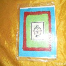 Postales: POSTAL TIBETANA . CABEZA DE BUDHA. HECHA A MANO EN PAPEL DE ARROZ. CON SOBRE. 14 X 12 CM . Lote 100754659