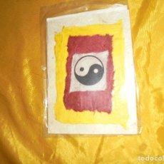 Postales: POSTAL TIBETANA . YING - YANG. HECHA A MANO EN PAPEL DE ARROZ. CON SOBRE. 14 X 12 CM . Lote 100754707