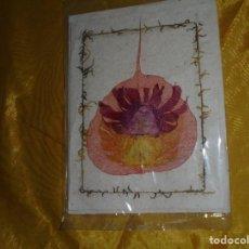 Postales: POSTAL TIBETANA . DECORADA CON FLORES SECAS. HECHA A MANO EN PAPEL DE ARROZ. CON SOBRE. 14 X 12 CM . Lote 100754783