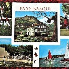 Postales: PAÍS VASCO FRANCÉS. 012 FOLKLORE: DIVERSOS ASPECTOS: CHISTERAS Y REGATAS. NUEVA. SEÑALES EN EL DORSO. Lote 105137015