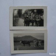 Postales: LOTE DE 2 FOTOS CARRO BUEYES Y TRILLO PRECIOSAS. Lote 110280059