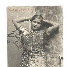 Postales: BELLA MUJER TAMIL CEYLAN - POSTAL ANTIGUA 1910 CIRCULADA DE COLOMBO A BARCELONA. Lote 110576907