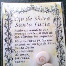 Postales: AMULETO OJO PROTECTOR DE SHIVA, FOSIL MARINO PED. MINIMO 50 UNIDADES SUELTAS 5€. Lote 117962643