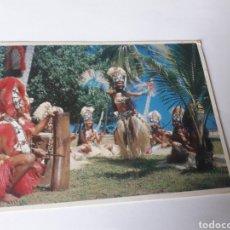 Postales: ETNICA TAHITI DANZA FOLKLORE CON SELLO POLINESIA FRANCESA. Lote 119270558