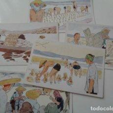 Postales: LE RIZ D`INDO-CHINE. LOTE DE 5 POSTALES ILUSTRADAS DE DICHA SERIE FRANCESA. SIN USO. Lote 141899934