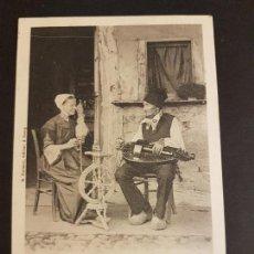 Postales: HILANDERA Y HOMBRE TOCANDO LA ZANFOÑA POSTAL ETNICA HACIA 1910. Lote 155342030