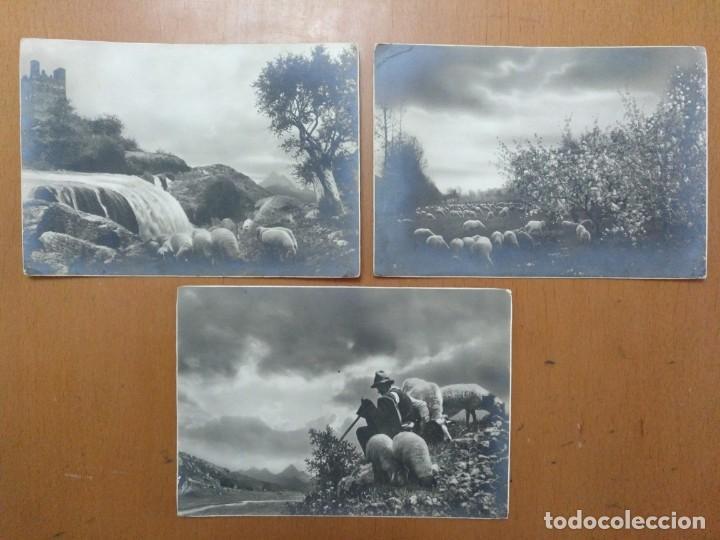 TRES POSTALES TEMA CAMPESTRE PASTOR CON OVEJAS 1939 CON SELLO CENSURA MILITAR BARCELONA (Postales - Postales Temáticas - Étnicas)
