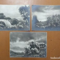 Postales: TRES POSTALES TEMA CAMPESTRE PASTOR CON OVEJAS 1939 CON SELLO CENSURA MILITAR BARCELONA. Lote 157341842