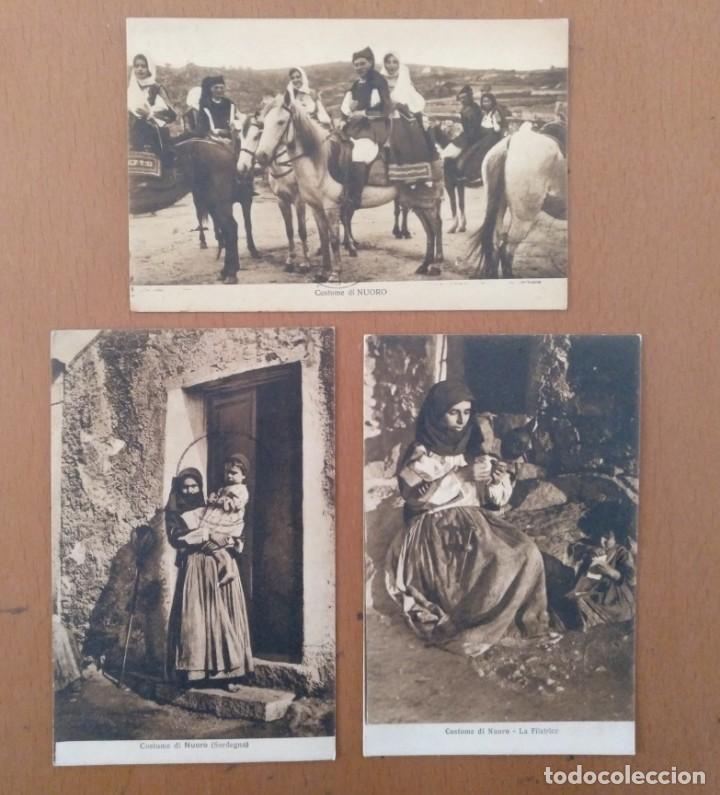 CONJUNTO DE 3 POSTALES ETNICAS (CERDEÑA-ITALIA) CIRCULADAS 1932-1939 NUORO COSTUMI (Postales - Postales Temáticas - Étnicas)