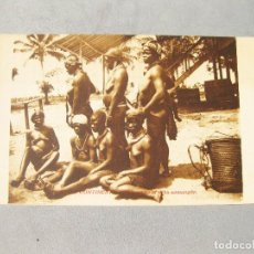 Postales: POSTAL ÉTNICA CON MUJERES DE LA TRIBU SAMANGON. GUINEA CONTINENTAL. Lote 162673470