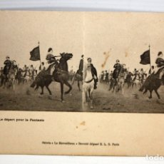 Postales: ANTIGUA POSTAL ESTEREOSCOPICA - LE DEPART POUR LA FANTASIA. SIN CIRCULAR. Lote 173181865