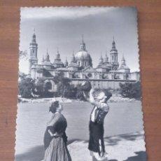 Postales: POSTAL B/N ZARAGOZA EBRO Y EL PILAR GRUPO FOLKLÓRICO ESTESO ED SICILIA NÚM 7, SIN ESCRIBIR. Lote 180237012