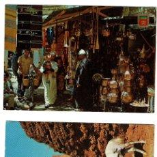 Postales: 2 POSTALES MARRUECOS : 1 JINETE DEL JARDIN REAL RABAT - 2 ARTESANIA TIENDAS TÍPICAS - . Lote 180602226