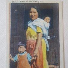 Postales: MUJER Y NIÑOS CHEROKEES CAROLINA DEL NORTE USA POSTAL. Lote 183466287