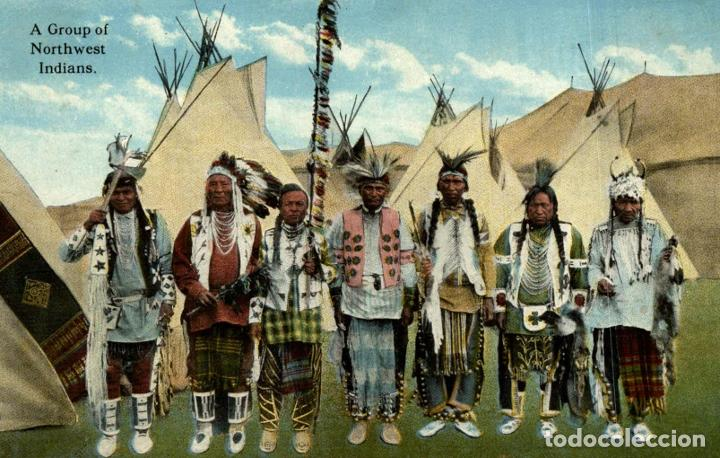 A GROUP OF NORTHWEST INDIANS (Postales - Postales Temáticas - Étnicas)