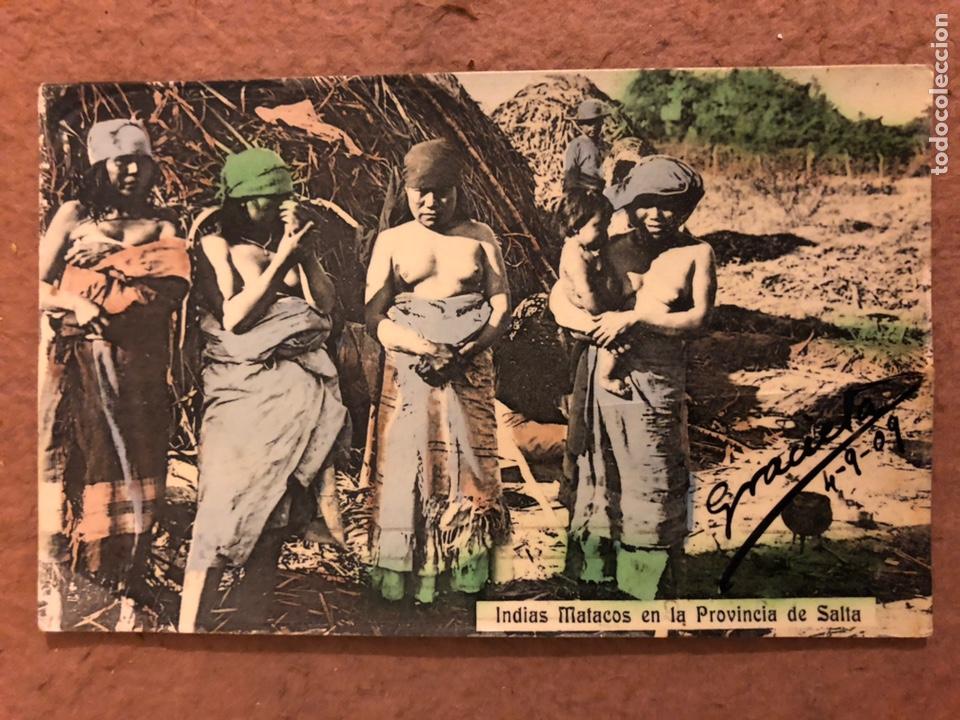 INDIAS MATACOS EN LA PROVINCIA DE SALTA (ARGENTINA). POSTAL CIRCULADA EN 1909. (Postales - Postales Temáticas - Étnicas)